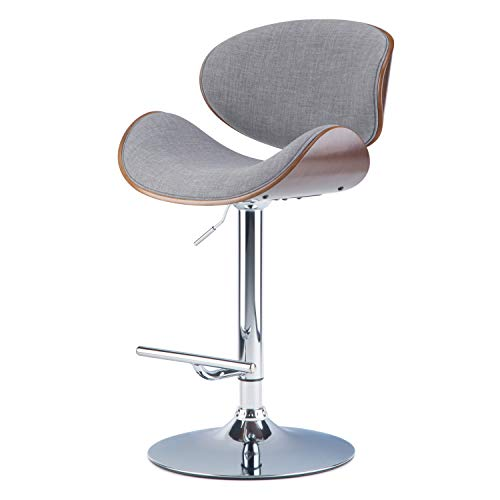 Simpli Home AXCMARN-G Marana Mid Century Modern Bentwood Adjustable Height Gas Lift Bar Stool in Grey Linen Look Fabric