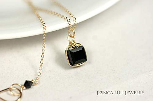 Gold Black Necklace with Jet Swarovski Crystal Pendant Wire Wrapped Yellow or Rose Gold Filled