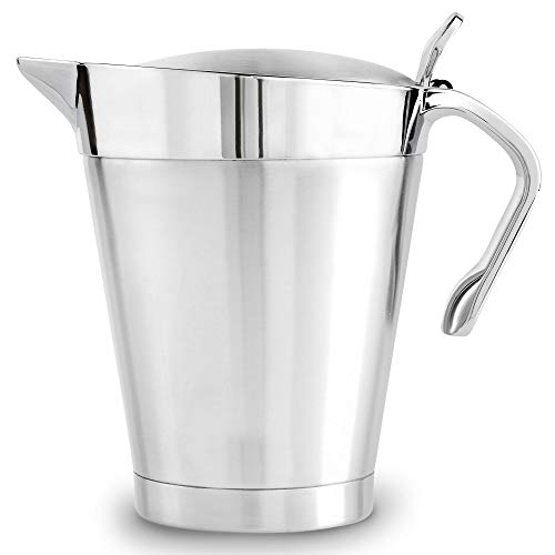 VonShef Silver Gravy Boat, Double Insulated Jug with Hinged Lid Ideal for Gravy or Cream, Stainless Steel, 32oz