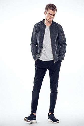 Comodo Battercake A Dunkelgrau Uomo E In Manica Denim Di Jeans Da Colletto Con Lunga Tasche Giacche Laterali Cerniera TxrRTOv