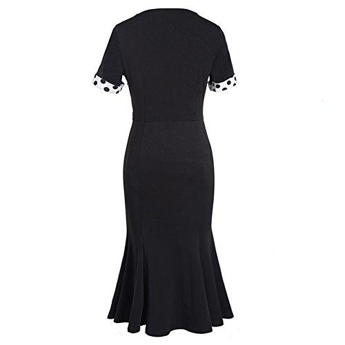 Vintage 1950 delle donne eleganti pois Arco-nodo Fishtail Cocktail Party Dress M nero