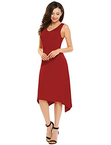 Robes D'été Casual Femmes Burlady O Robe Sans Manches De Partie Midi Cou Rouge