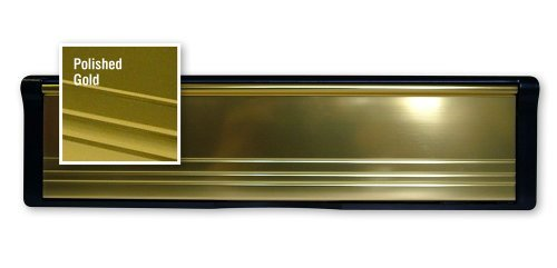 1 x Gold PostPort 12' Inch Letterplate for Slim Doors or Panels (20-39mm) - Other sizes available Post Port