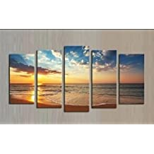 Printed oil paintings landscape seaview Art Wall Decorative Canvas Print Set Of 5 (no frame) canvas painting 30x40cmx2(12*16inch) 30x60cmx2(12*24inch) 30x80cmx1(12*32inch) SKY-NO30