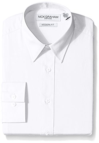 Dress Tie Modern (Nick Graham Everywhere Men's Modern Fit Solid Point Collar Dress Shirt, White, 17
