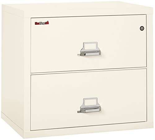 Fireking Fireproof Lateral File Cabinet (2 Drawers, Impact Resistant, Waterproof), 27.75'' H x 31.19'' W x 22.13'' D, Ivory White by FireKing