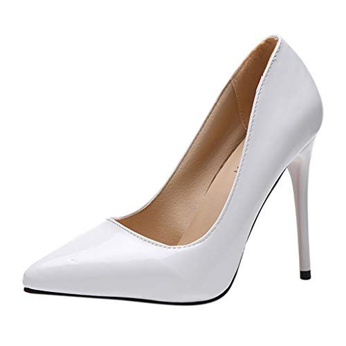 Cenglings Pumps,Women's Sexy Pointed Toe Patent Solid Stiletto Heels Pumps Slip On Shallow Shoes Office Work Sandals White