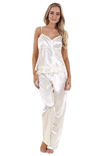 64678a210c3bb Ladies Satin Pyjama Set 3 Piece Set Lace Vest Shorts Bottoms Pants ...