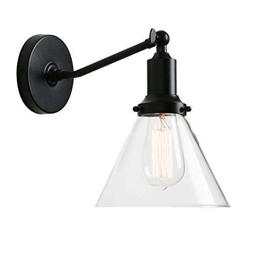Permo Industrial Vintage Slope Pole Wall Mount Single Sconce with Funnel Flared Clear Glass Shade Wall Sconce Light Lamp Fixture (Black)