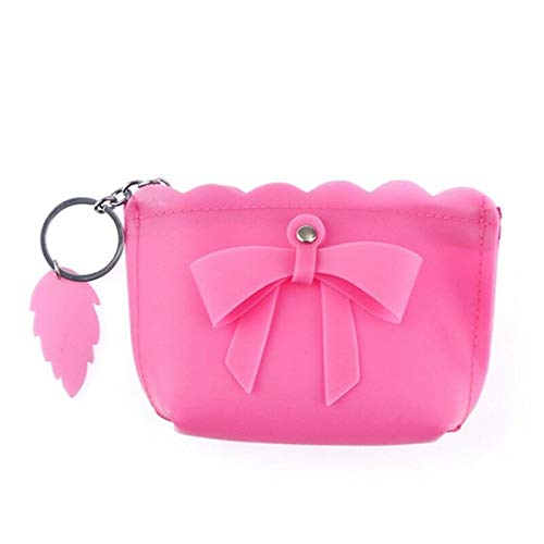 Candy Color Mini Coin Purse Bag Bow Knot Key Change Pouch Kids Gifts (COLOR - Rose red)