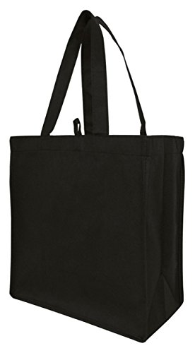 BagzDepot (50 PACK) Non-Woven Cheap Well Made Budget Friendly Reusable Tote Bags in Bulk with Side and Bottom Gussets Convention Trade Show Event Customizable Tote Bags Wholesale - GN55 (Black) - Side Gusset