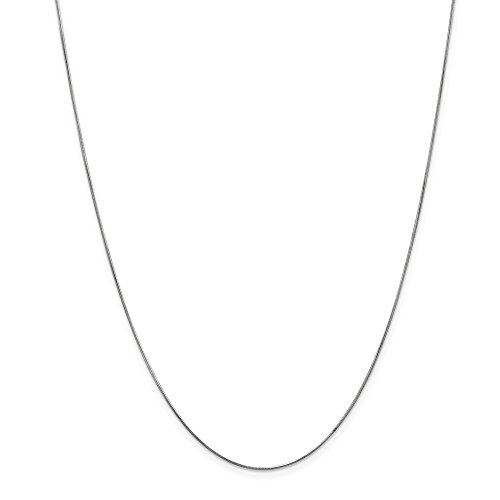 14k Gold Solid Snake Chain Necklace with Lobster Clasp (0.5mm) - White-Gold, 18 ()