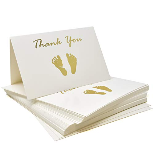 50 Count Baby Shower Thank You Cards and Envelopes Set 4x6 Inches Gold Foil Baby Feet Footprint White for Boys and Girls Value Pack Gender Neutral, Unisex Folded Cards
