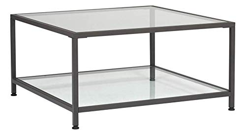 Studio Designs Home Camber Modern Square Glass Coffee Table in Pewter with Clear Glass, Living Room Coffee Table, 30