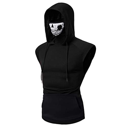 Sunmoot Independence Day Hooded T Shirt Mens Slim Fit Sports Tops Skull Mask Print Fitness Vest Short Sleeve Open-Forked Male Shirt