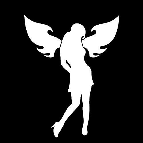 Makarios LLC Angel Silhouette Sexy Adult Decal Vinyl Sticker Cars Trucks Vans Walls Laptop MKR| White |5.5 x 4.25|MKR318