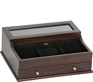 - Mele & Co. Hampden Men's Glass Top Wooden Dresser Top Valet (1 Drawer, Mahogany Finish)