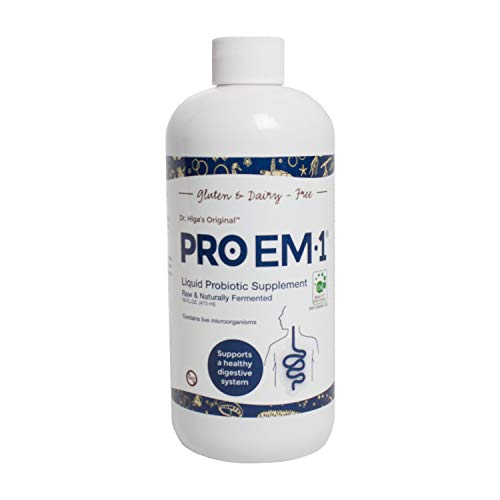 PRO EM-1 Liquid Probiotic Supplement for Digestive Support | 5 Million CFU/ml Fast-Absorbing Organic Formula for Men & Women | Enhance Nutrient Absorption & Remove Toxins | Non-GMO & Natural