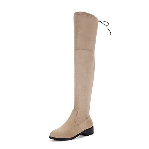 BalaMasa Womens Low-Heels Pull-on Solid Above-The-Knee Pointed-Toe Suede Boots ABL09709 Apricot