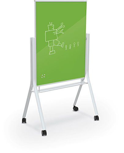 Best-Rite 74957-Green Visionary Curve Colored Glass Whiteboard Easel White Frame Green 47.24''H x 35.43''H Surface by Best-Rite