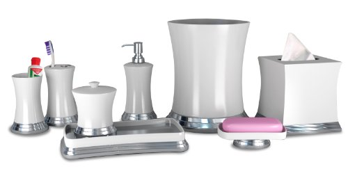 nu steel Sag Harbor Ceramic Bath Accessory Set for Vanity Countertops 8 Piece Includes Container,soap Dish,Tooth Brush Holder,Tumbler,soap Lotion,Waste Basket,Tissue Box Holder,Tray-White/Chrome - Matching pieces include cotton swab/cotton container, soap dish, toothbrush holder,tumbler,soap and lotion pump,wastebasket,boutique tissue, amenity tray Elegant bath accessory set Select a style to match your bathroom decor - bathroom-accessory-sets, bathroom-accessories, bathroom - 31zYRM%2Bve6L -