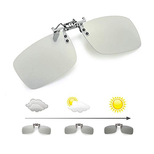 Photochromic Polarized Clip on Sunglasses Anti-Glare Driving Glasses with Transition Lens Flip up over Prescription ()