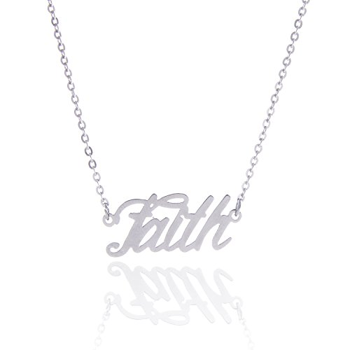 AOLO Faith Word Necklace Phrase Charm Religious Jewelry -
