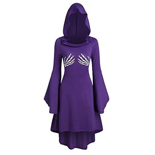 Costume Halloween Femme Xl (Cosplay Halloween Midi Robe Mlide Femmes Capuche Fantôme Empreinte De La Main Costume)