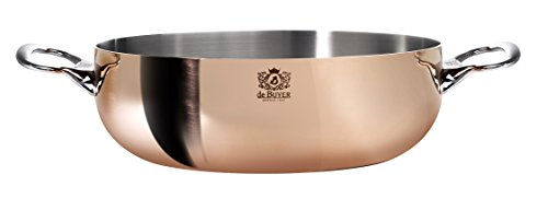 PRIMA MATERA Conical Copper Stainless Steel Saute-Pan 11-Inch with lid by De Buyer