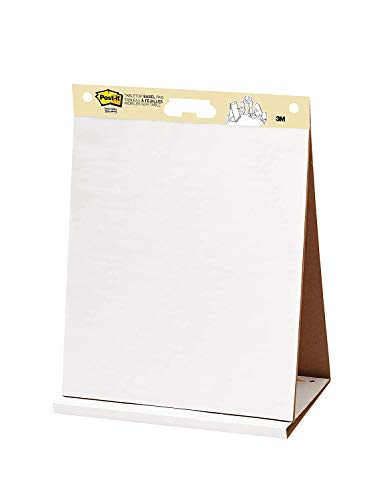 Post-it Super Sticky Tabletop Easel Pad, 20 x 23 Inches, 20 Sheets/Pad, 1 Pad (563R), Portable White Premium Self Stick Flip Chart Paper, Built-in Easel Stand, 5 Pack by Post-it (Image #1)