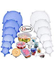 Silicone Stretch Lids, Insta Lids, Instalids, Reusable Silicone Lids With Hanging Holes Fit Round & Square Bowls, Jars, 12-Pack of Various Sizes Silicone Bowl Covers Keeping Food Fresh Freezer ()