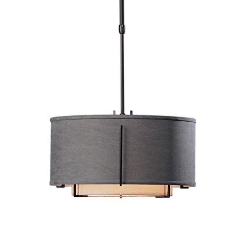 Hubbardton Forge 139602-2923 Exos Small Double Shade Pendant Hubbarton Forge Doeskin Suede Inner and Flax Outer, Natural Iron ()