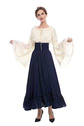 ROLECOS Renaissance Medieval Dress Victorian Peasant Retro Gown Shirt and Skirt Dark Blue -