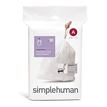 simplehuman Custom Fit Trash Can Liner A, 4.5 Liters / 1.2 Gallons, 30-Count (Pack of 4)
