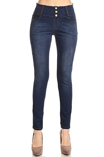 Classic Look Slim Jeans (Jvini Women's Five Pockets Butt Lift Pull-On Stretchy Skinny Denim Jeans Legging (Large, Navy Blue))