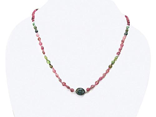 (Pink Green Tourmaline Beads Necklace Strand With Sterling Silver 16