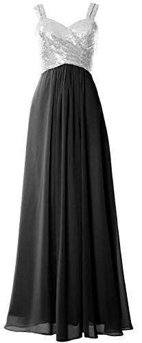 Formal Sequin Dress Silver MACloth Wedding Black Women Gown Bridesmaid Cowl Long Straps Back TwTqE1z