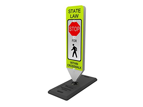 - Impact Traffic - in-Street Pedestrian Crosswalk Sign, Stop, with Portable Base - Industry Best Performer