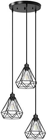 Industrial Black 3-Light Pendant Lighting Modern Farmhouse Ceiling Hanging Light Fixture with Metal Diamond Shape for Kitchen Island Dining Room Bedroom Living Room Hallway