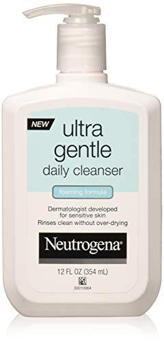 Neutrogena Ultra Gentle Daily Facial Cleanser for Sensitive Skin, Oil-Free, Soap-Free, Hypoallergenic & Non-Comedogenic Foaming Face Wash, 12 fl. oz (Pack of 2) ()