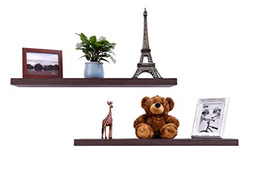 EMERIT Floating Wall Mountable Shelf Set of 2 Wall Storage Shelves for Bedroom, Living Room, Bathroom, Kitchen, Office  Walnut
