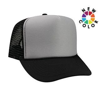 Otto Caps OTTO Polyester Foam Front 5 Panel High Crown Mesh Back Trucker Hat - (Foam Mesh Hats)