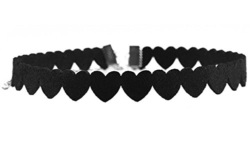 SUNSCSC Black Velvet Heart Gothic Choker Necklaces for Women Girls Stretch Tattoo Henna Necklace (Black 1pcs Heart)