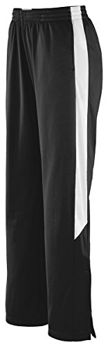 Augusta Sportswear Womens Brushed Tricot Pant, BLACK/WHITE, Small