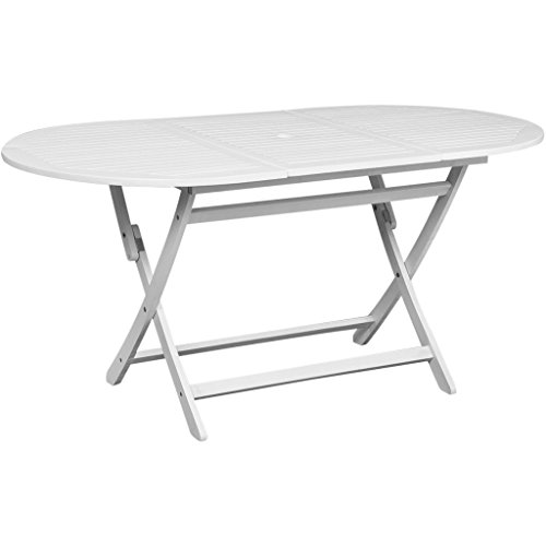 - Festnight Outdoor Dining Table with Umbrella Hole Foldable Oval White Patio Camping Table Acacia Wood Garden Outdoor Furniture