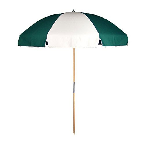 7.5 ft.Steel Commercial Grade Beach Umbrella Ash Wood Pole (Forest Green White, 7.5 ft - Without Storage Bag)