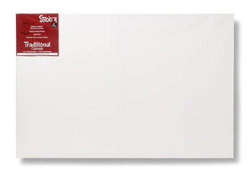 "Darice Studio 71 Medium Weight Traditional Stretched Canvas – 24"" x 36"" Canvas for Oil or Acrylic Paints, Triple Acrylic Primed Canvas on a Wood ()"