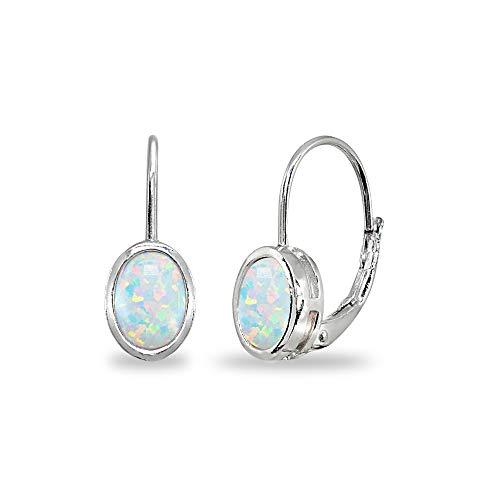 Sterling Silver Simulated White Opal 7x5mm Oval Bezel-Set Dainty Leverback Earrings for Women Teen Girls