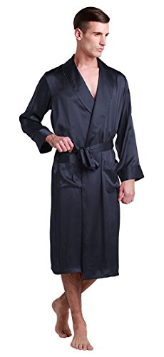(LilySilk Vintage Silk Robe for Mens Long Knee Length Lapel Collar 22 Momme Pure Silk Navy Blue Size 42/XL)