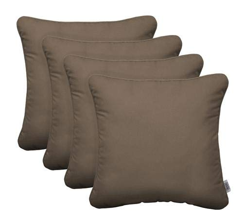 RSH Décor Indoor Outdoor Set of 4 Square Throw Pillows Made from Outdura Solid Fabric - Choose Color & Size
